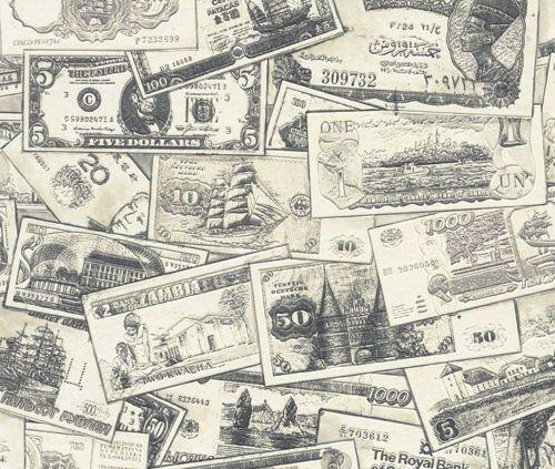 Rasch Vinyl Tapete Geldscheine Dollar Scheine Motive