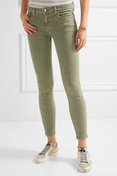 Current/Elliott - The Stiletto Mid-rise Skinny Jeans - Army green - 29