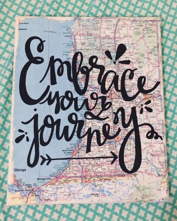 Embrace the Journey Map Canvas Travel Quote by kalligraphy