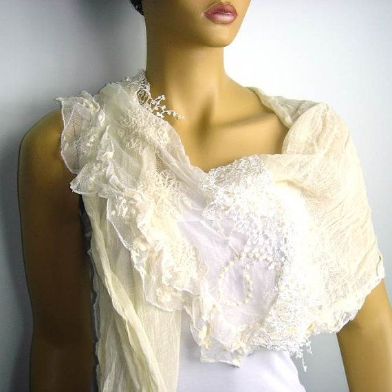 Ivory white cotton scarf  with lace and tulle by istanbuloya, $24.00