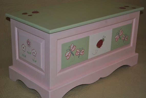 Kids Lady Bug Dragonfly and Floral Pink and Green Childrens Toy Chest on Etsy, $275.00