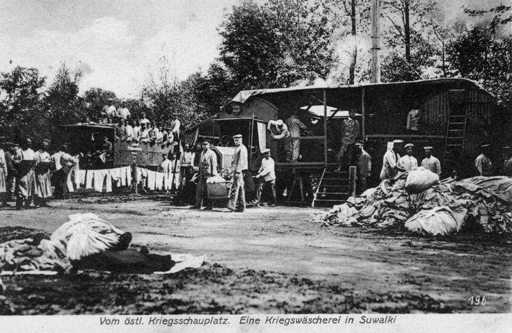 Polska › woj. podlaskie › Suwałki › Suwałki - zdjęcia niezidentyfikowane 1916 , Pralnia polowa w czasach I wojny światowej.