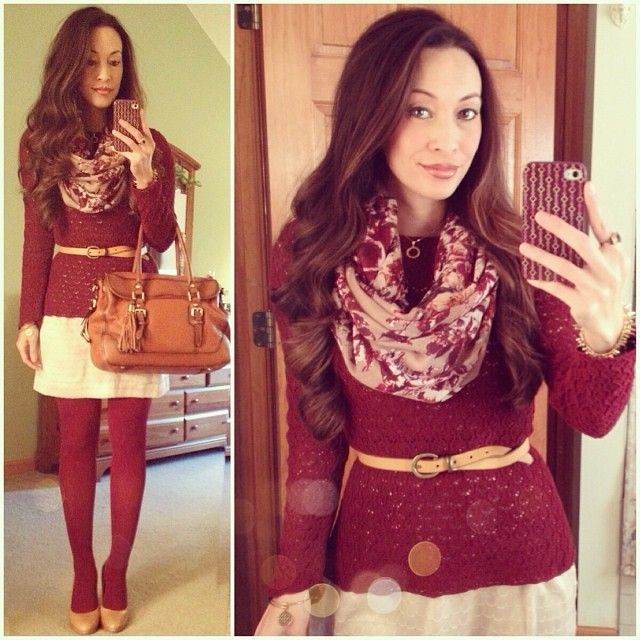 Maroon, Burgandy, Bourdeaux, Wine, Cranberry, Oxblood... Whatever you call it! #newyorkandcompany #sweater, #bananarepublic #dress, #targetstyle #scarf & #tights #vincecamuto #pumps #concealedcarrie #satchel #ootd #fallstyle #wiwt #fashion #fashionista #whatiwore #lookoftheday #instafashion #instastyle #igfashion #igstyle #mystyle #currentlywearing #instalook #hapa #followme #stylediaries http://www.concealedcarrie.com/