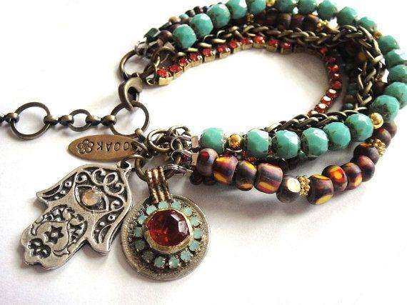 Oriental flavour beaded gypsy bracelet in turquoise by OOAKjewelz, $95.00