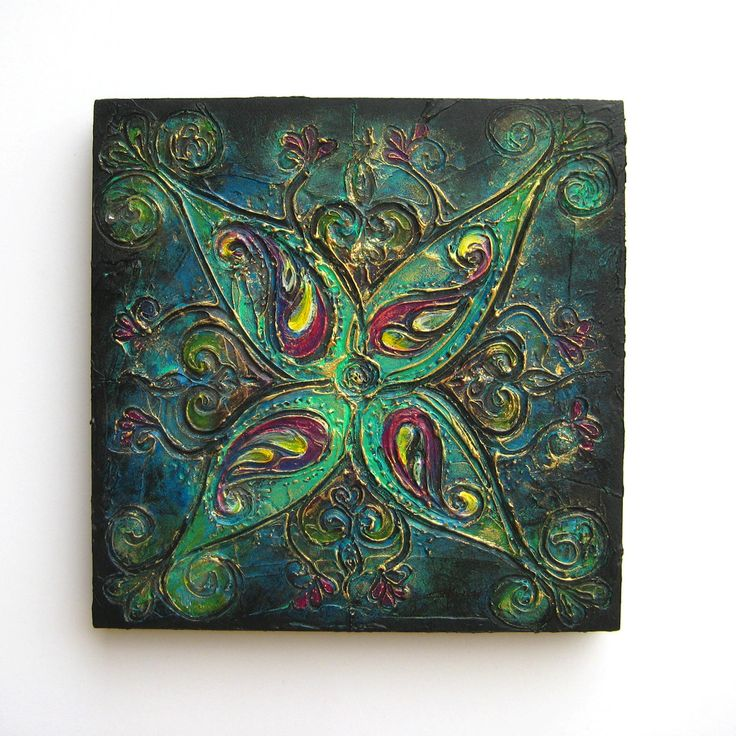 Rangoli VI - Original Abstract Textured Painting on Canvas by ChingTeoh on Etsy