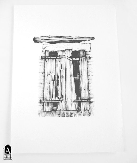 The Rattletrap Old Wooden Window Italian Vernacular Architecture Original Drawing Black Graphic Pen Ink On Heavy
