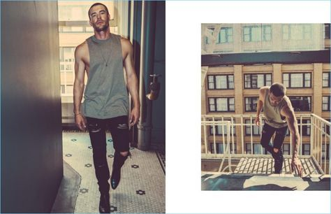 A sporty vision, Charlie Weber rocks a Slow Build Heavy Grind tank with ripped Stampd denim jeans and Dior Homme boots.