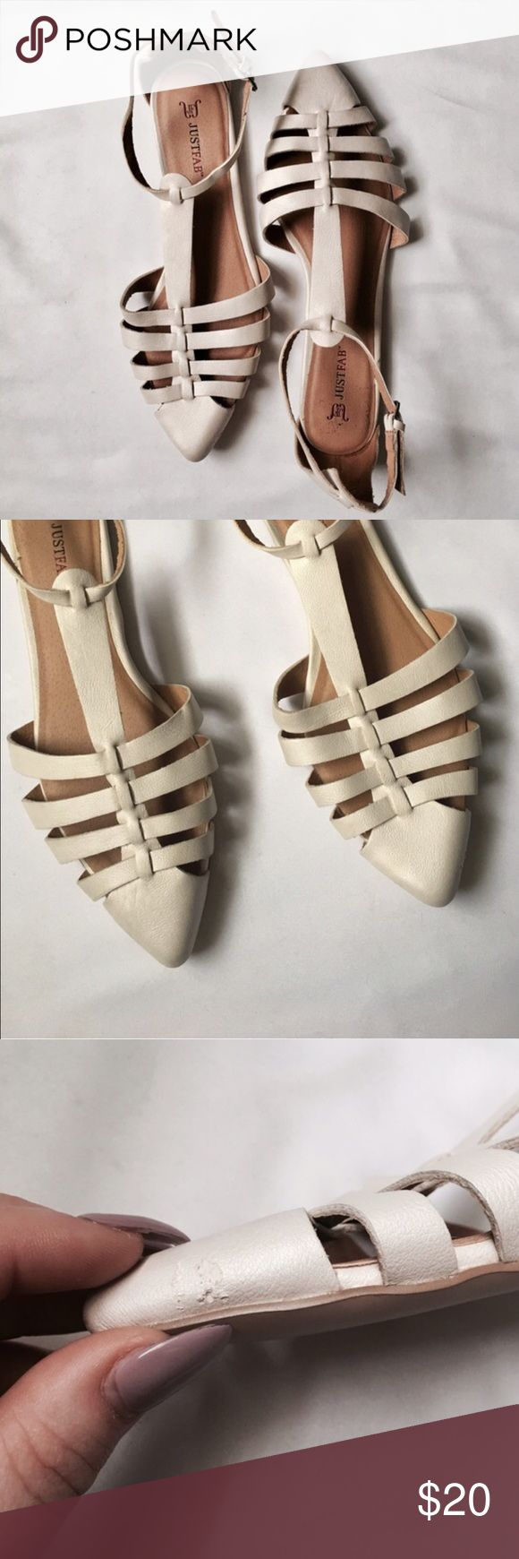 Just Fab   Leona Pointed Toe Flat in Ivory A great edgy flat for the spring and summer! The gladiator style is super on trend and these will look great with skinnies or a cute skirt! These are in great condition, very little wear on soles, one small scuff near toe. Zoom in for details! JustFab Shoes Flats & Loafers