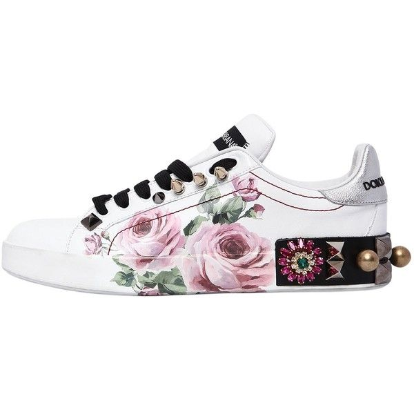 2eb5df38c754 Dolce   Gabbana Women 20mm Portofino Floral Leather Sneakers ( 1,220) ❤  liked on Polyvore featuring shoes, sneakers, studs shoes, flower print  shoes, ...