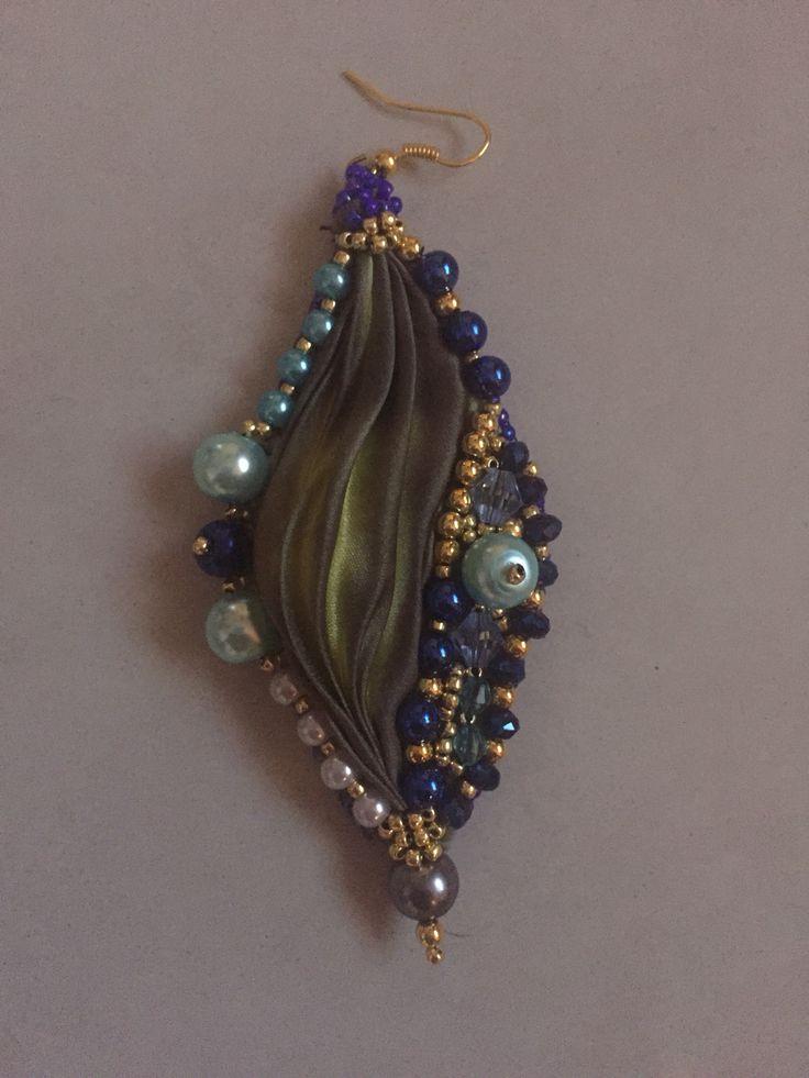 Embroidery Shibori silk earrings