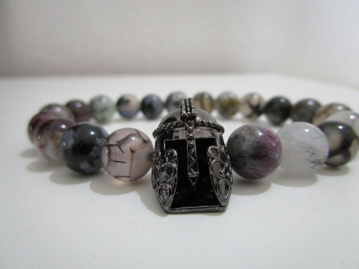 Pulsera espartana,Pulsera piedras semipreciosas,Cuarzo rutilado,Agata negro venas de dragon,Regalo de Lenajoyas en Etsy