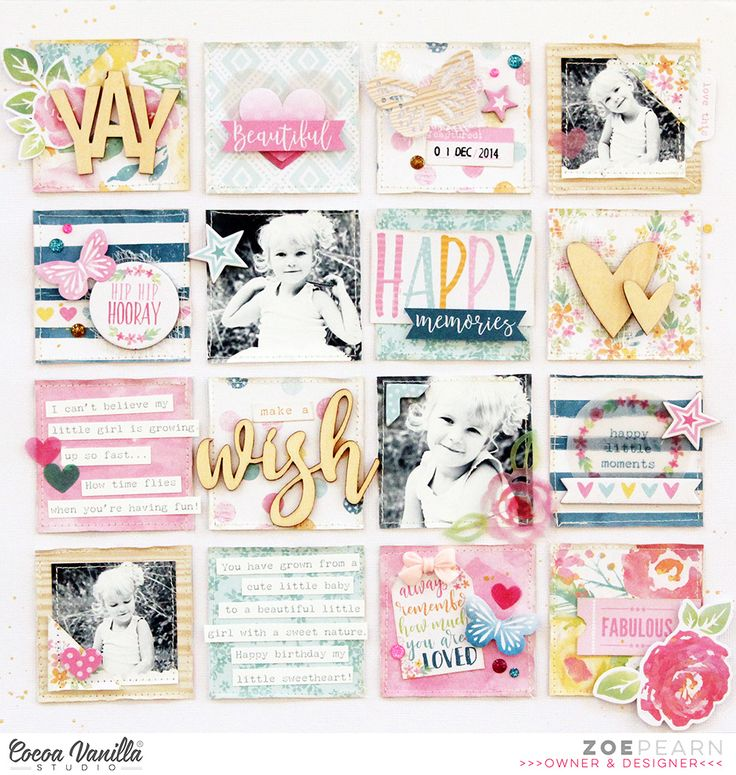 Hi everyone!It's Sue Plumb here with you, and today I thought it would be nice to pop in and share another inspirational layout on behalf of Zoe, this time using the bright and beautiful Make a Wish collection. As you can see, Zoe used a fabulous grid