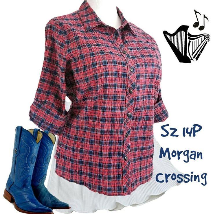 Plaid Seersucker Shirt Sz 14P Morgan Crossing Roll Tab Sleeve Red Top #Plaid #seersucker #rolltab #ButtonDownShirt #countrystyle