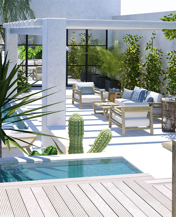 206 best jardin avec piscine images by m on pinterest petites piscines mini - Creer un jardin contemporain ...