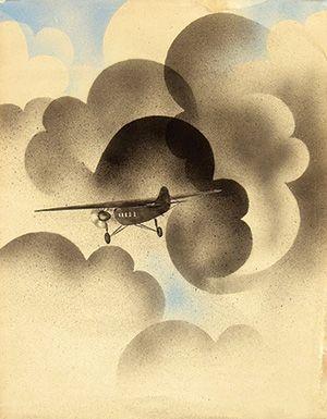 Charles H. de Stuers (1894-1981) Before text (KLM rondvluchten Schiphol Waalhaven) 51x66, 1932, maquette
