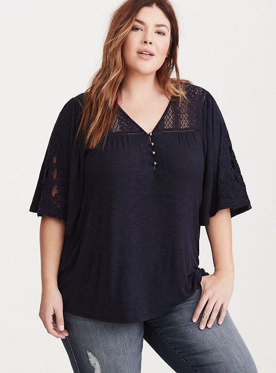 Plus Size Crochet Inset Flutter Sleeve Top,