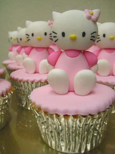 hello kitty cupcake    hello kitty sugar figurine on a butter cupcake topped with fondant icing. these were made to accompany the hello kitty cake.