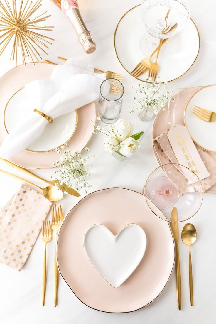 Blush Pink + Gold TableScape Inspiration for a wedding, Valentine's Day party or