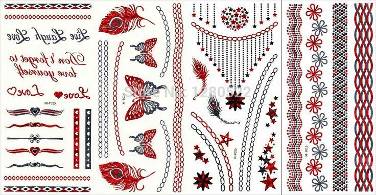 100 шт красный серебро металлический флэш-тату тело искусство бабочка перо ювелирные изделия цепь тату пляж татуировки 12 модели экспресс