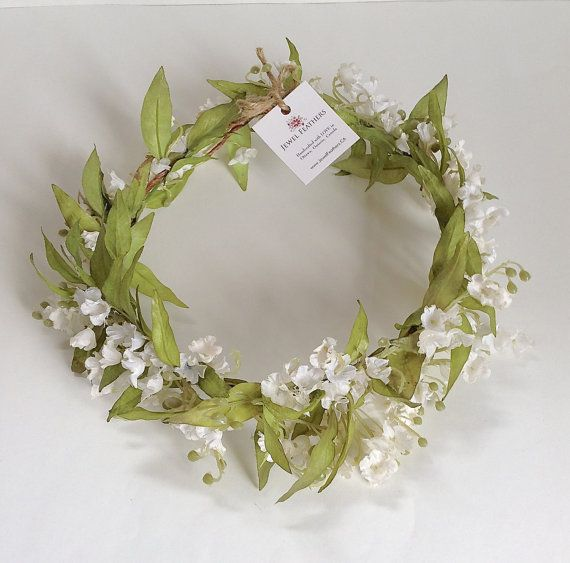 Olive Leaf Lily of the Valley Bridal Floral Crown by jewelfeathers