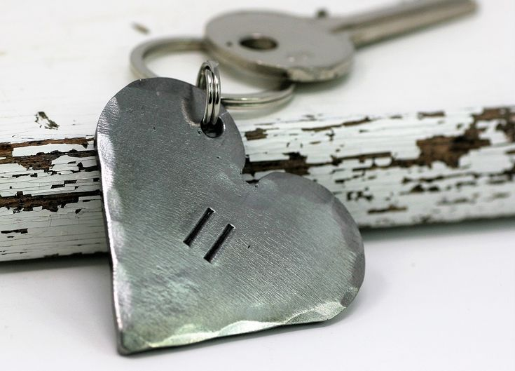 Personalised 11th Anniversary Steel Heart Keyring Gift