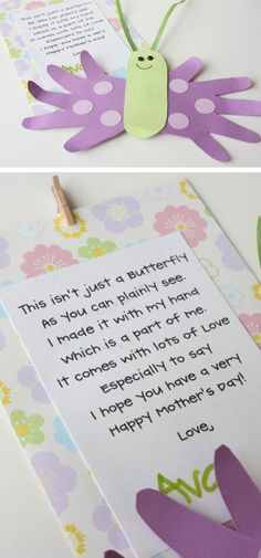 Mothers Day Butterfly Card and Poem | Click Pic for 22 DIY Mothers Day Craft Ideas for Kids to Make | DIY Mothers Day Crafts for Toddlers to Make: