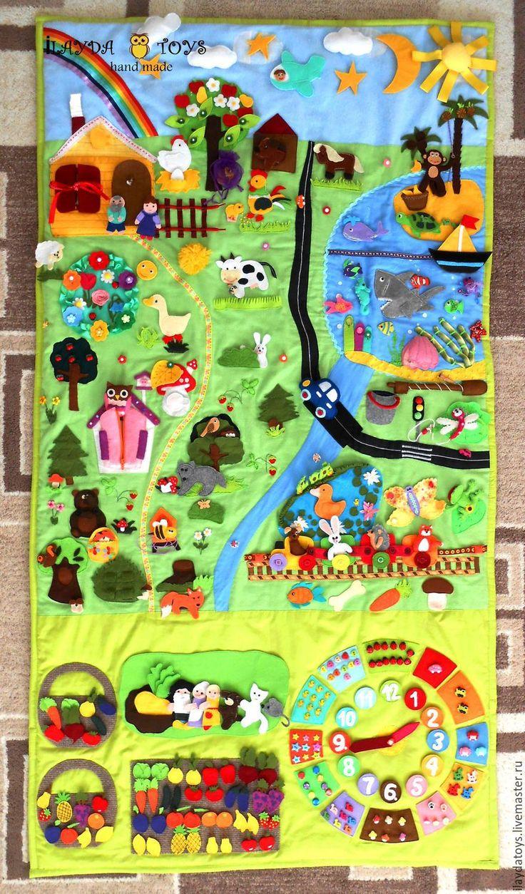 """Купить Развивающий коврик """"Волшебная страна"""" - разноцветный, развивающая игрушка, авторская ручная работа"""