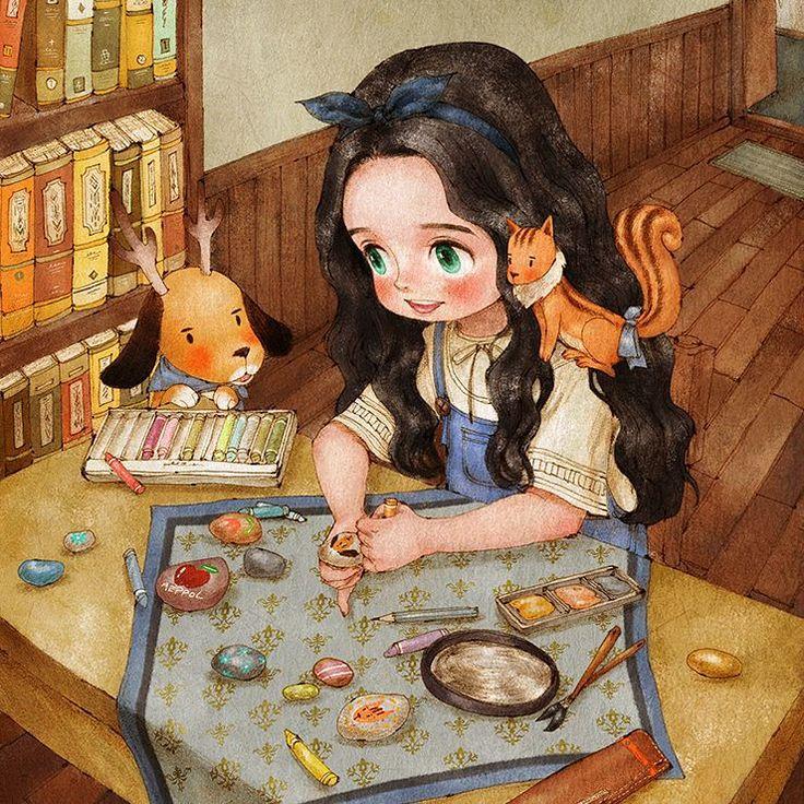 조약돌에 그림을 그려요 #illust #illustration #pebbles #girl #rudolphdog #squirrel #paint #drawing #fairytale #child #aeppol #일러스트레이션 #일러스트 #애뽈 #조약돌