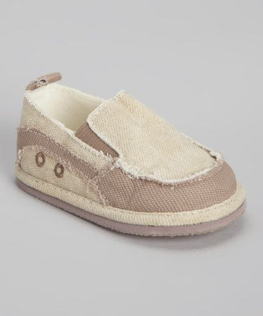 Take a look at this Taupe Distressed Canvas Slip-On Sneaker by Baby Deer on #zulily today!