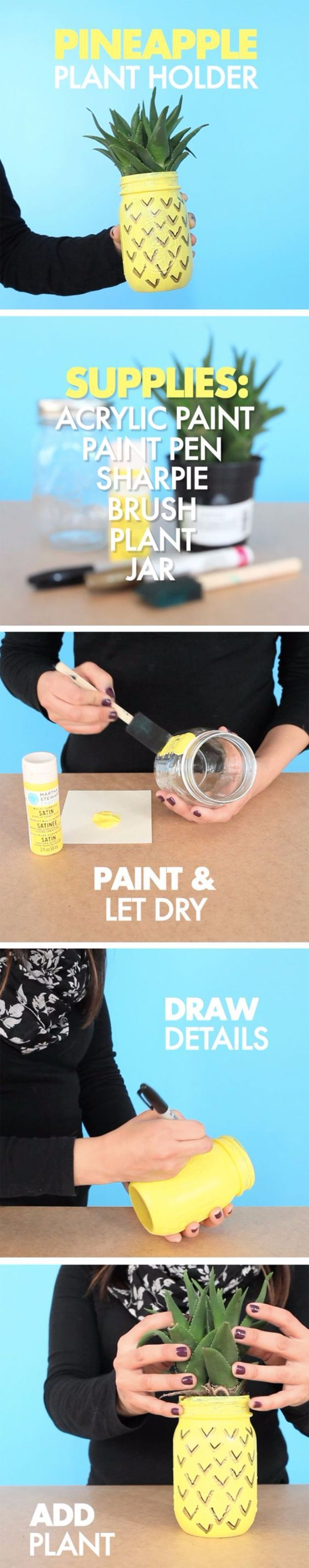 Pineapple Mason Jar Planter, Mason Jar Crafts You Can Make In Under an Hour, Painting Mason Jars, DIY, Quick Mason Jar Projects, DIY Projects, Home Decor, DIY Gifts, Creative Ideas for Mason Jars, Step- By-Step, Tutorial,  Instructions, Planter