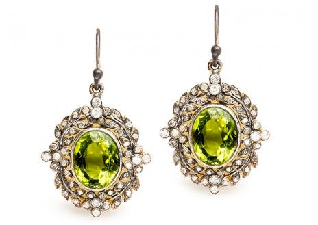 These lovely vintage-inspired Edwardian peridot earrings are eclectic and beautiful! TrumpetandHorn.com | $1,650