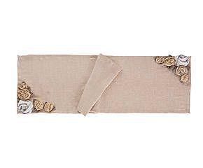 Fascia centrotavola in lino con applicazioni di rose - l 150 cm