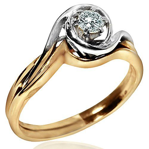 14K Gold Wedding Set Ladies 0.2ct Two Tone Engagement Ring and Band  Soldered together Rings