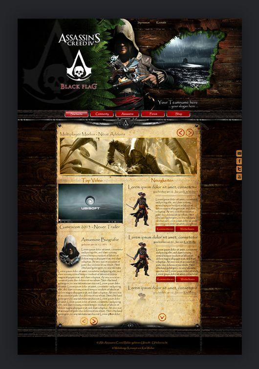 """Assassins Creed – Black Flag war eines der besten Video Games, die sie je rausgehauen haben! Ich habe mich in diese karibische Atmosphäre total verliebt. Daraufhin habe ich mir meine Gedanken gemacht und kam zu dem Entschluss, wie geil es wohl wäre im Header sowas wie eine Art """"Schussloch"""" vom Schiff als Slider einzubauen und das Ganze optisch so zu gestalten, als ob die Webseite auf einem Flugblatt wäre. Dieses Design ist schon sehr alt, aber ich finde es immer noch sehr toll anzusehen 🙂…"""