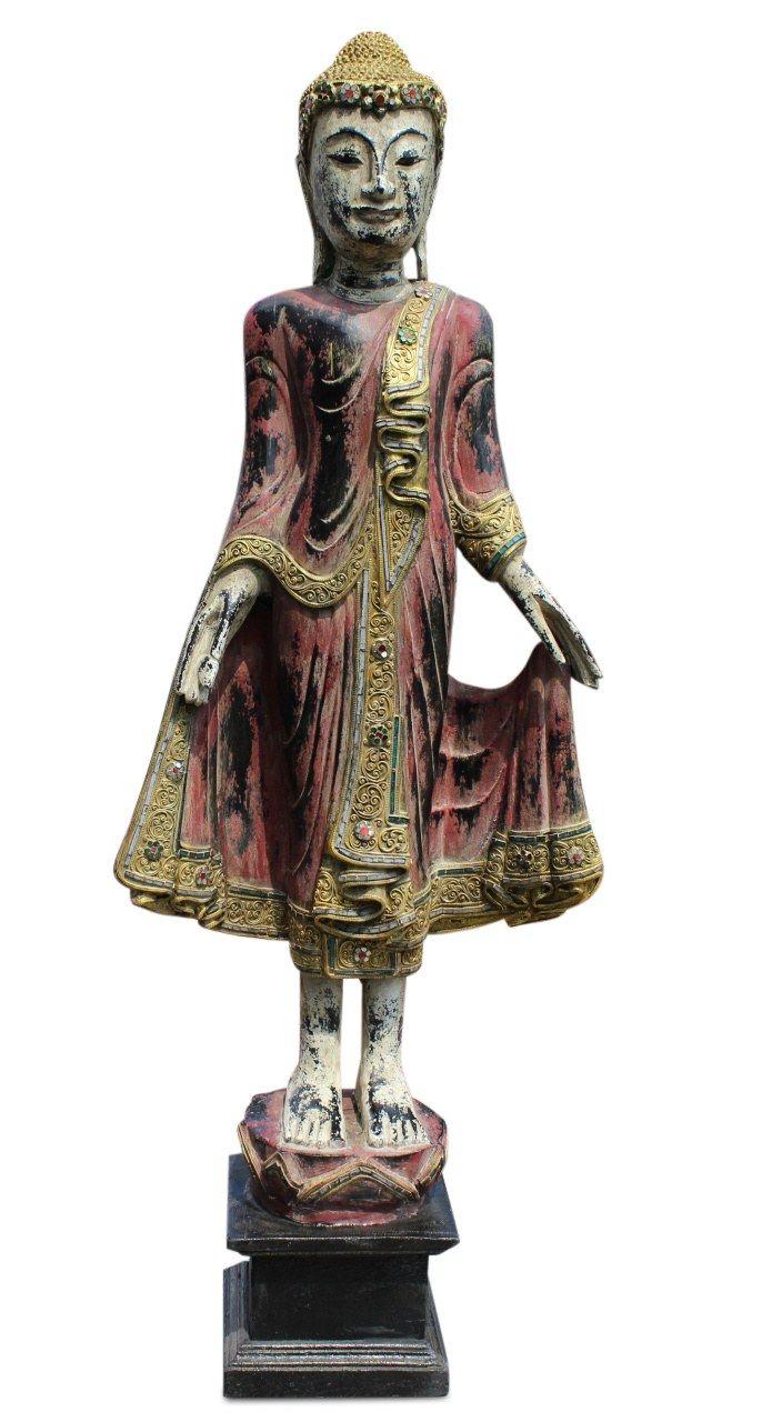 stehende holz buddha figur marsala rot ursprung nord thailand