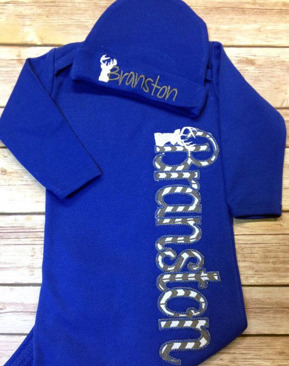 Coming Home Gown Layette Baby Name gown Deer by StitchandQuilt