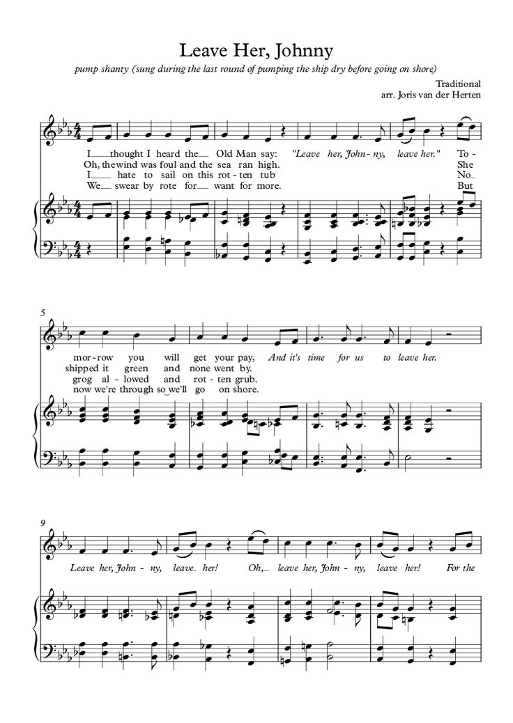 Leave Her, Johnny [sea shanty] (voice + piano) for Voice + keyboard by Traditional - Sheet Music PDF file to download in 2020 | Sheet music pdf ...