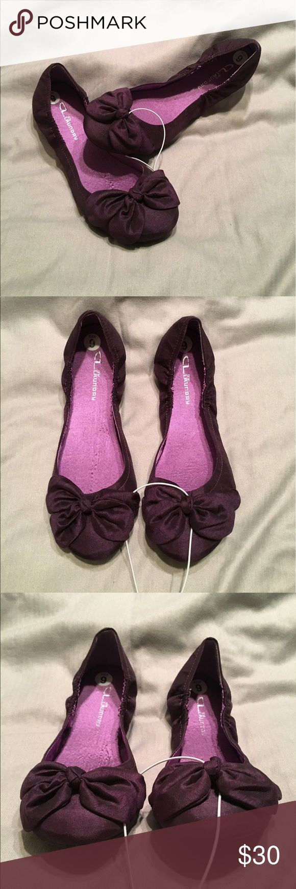 NWOT Chinese Laundry purple ballet flats New CL by Laundry purple satin ballet flats with bows. No tags or box. Size 9. Chinese Laundry Shoes Flats & Loafers