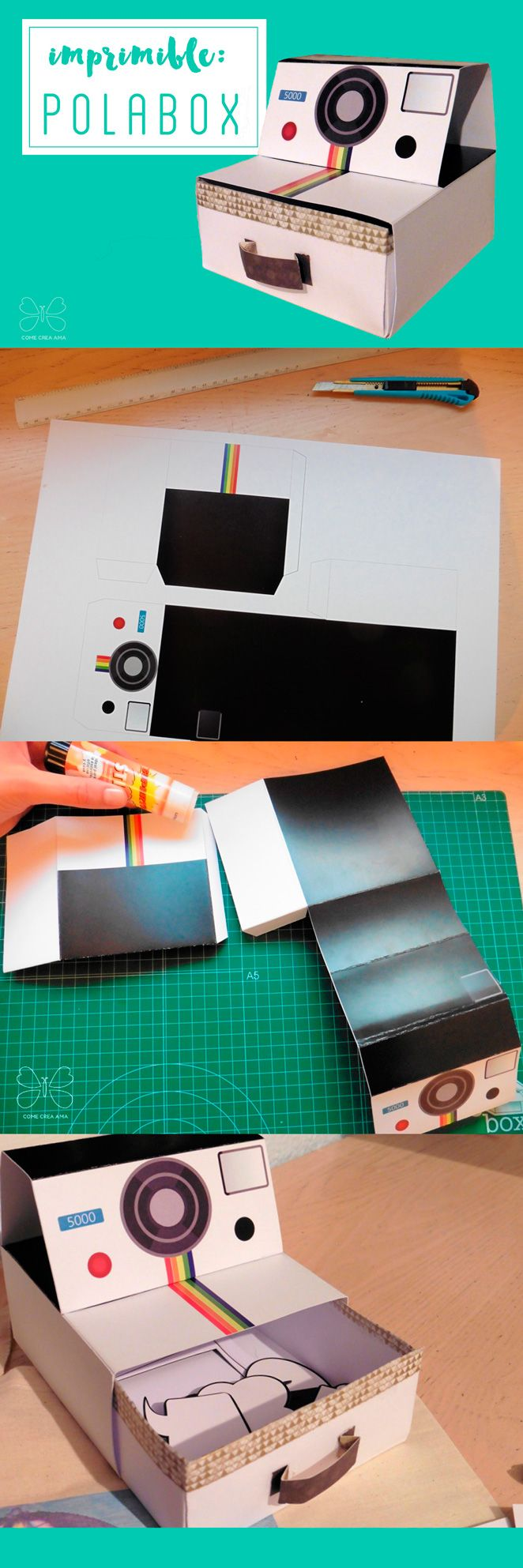 free printable polabox caja polaroid imprimible