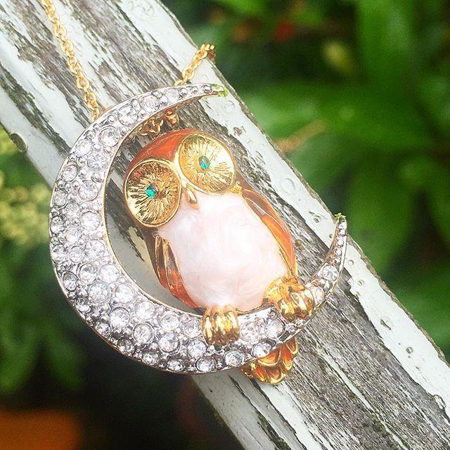 🌿🦉:: The Owl & Moon Pendant | Was £60 - Now £29 :: 🌙🌿  .  .  .  #BillSkinner #owl #brownowl #owls #swarovski #enamel #handpainted #jewellerylovers #jewelrydesigner #wildlife #stilllifephotography #fashionlovers #fashionphotography #craft #moon #owljewellery #owljewelry #nightowl