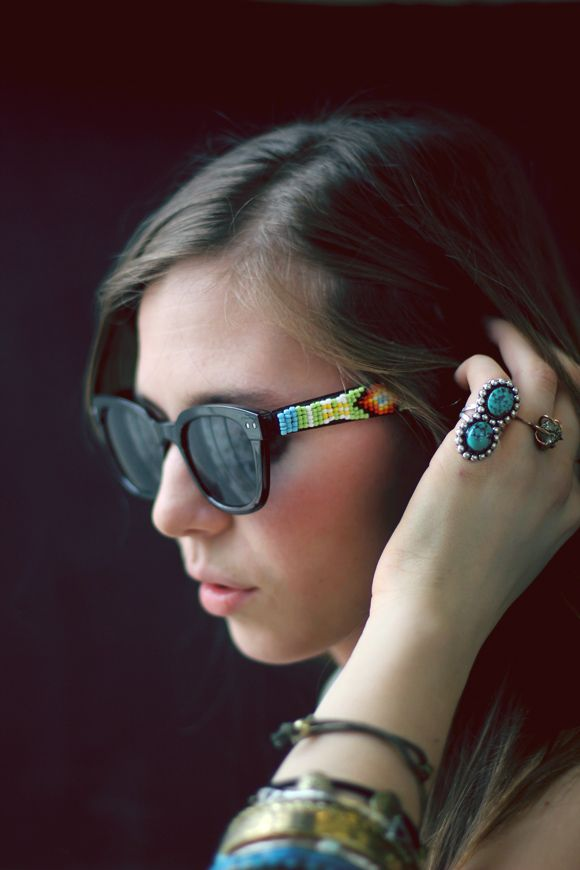 I remember flipping through a magazine a few years back and seeing a tiny picture of sunglasses that were adorned in beads. It was so small that I couldn't exactly see all of the detail, but I remember staring at the picture for a really long time, wishing that I owned a pair. Taking something