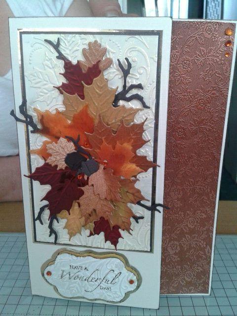 leaves cut with Marianne leaf dies, branches with tim holtz die. my autumn birthday card.