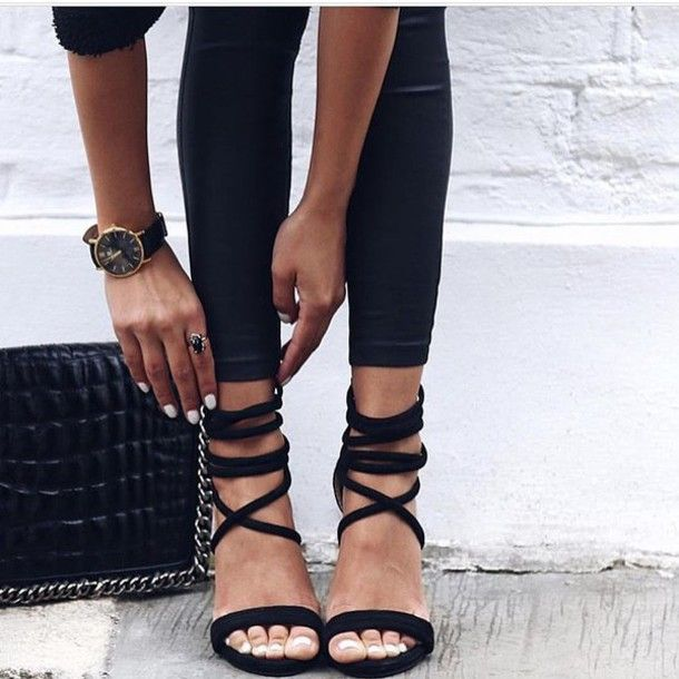 Shoes: sandals tumblr sandal heels high heel sandals black sandals leather leggings leggings black