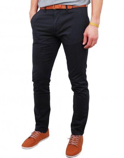 Pantalon chino bleu marine avec ceinture Yard
