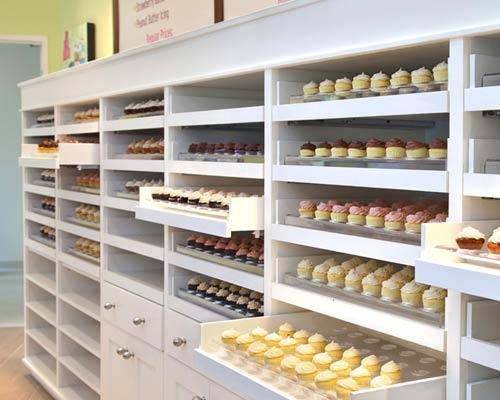 PrairieGirlBakery, Toronto  Wow...its like a shoe closet for cupcakes!!! This is fab!!!