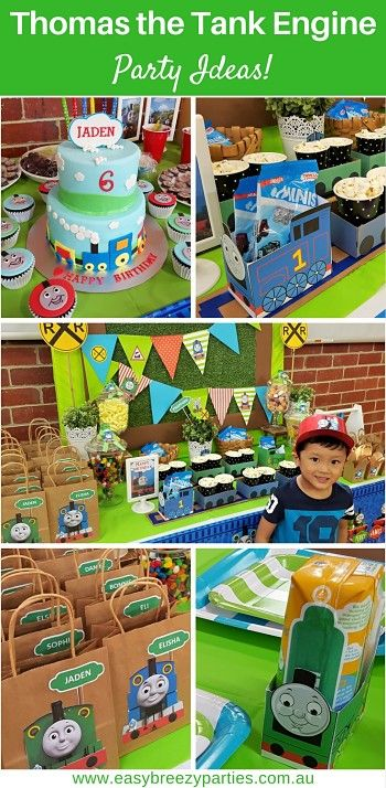 Thomas the Tank Engine party ideas. Thomas the train themed decoration ideas, party bags, party favors, party games. By Easy Breezy Parties.