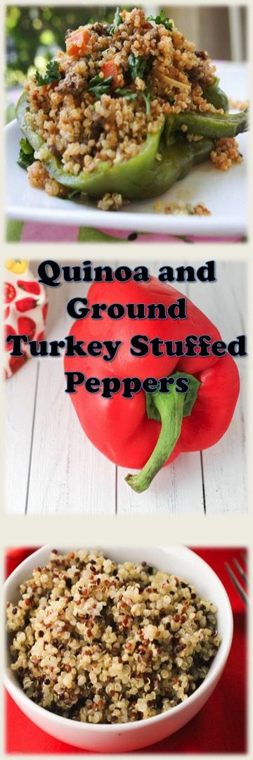 Quinoa and Ground Turkey Stuffed Peppers #cleaneating, #quinoa, #peppers