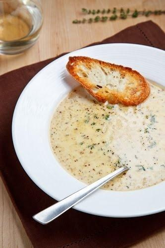 Roasted Cauliflower and Aged White Cheddar Soup - Click for Recipe