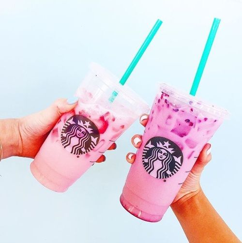Imagine girl, pink, and starbucks