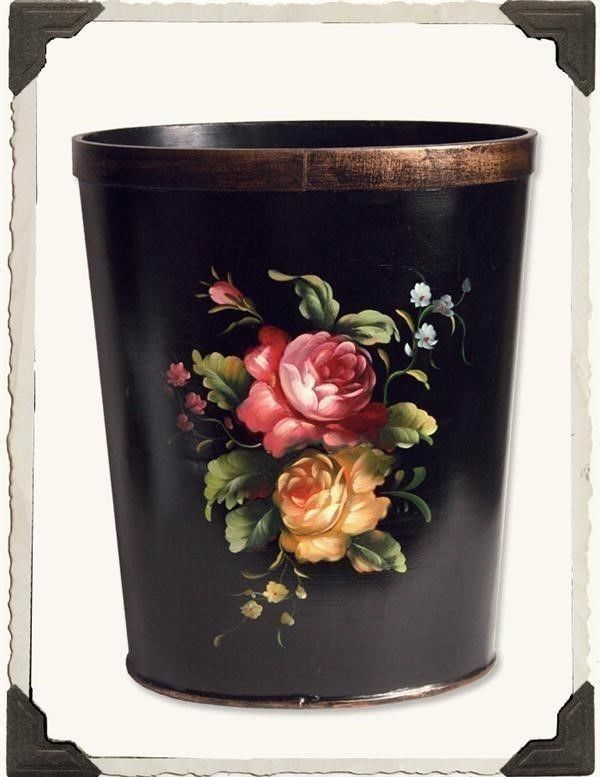 Victorian Trading Co Hand Painted Wood Pink Yellow Roses Waste Basket Trash Can #VictorianTrading #Victorian